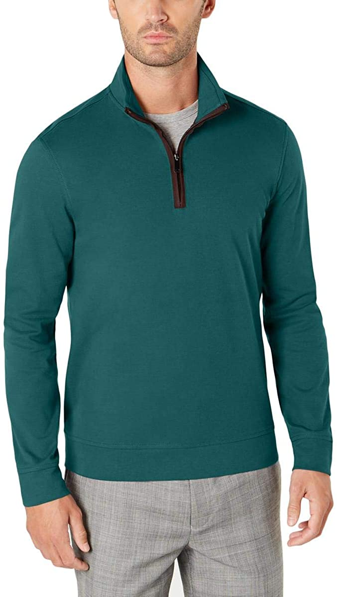 Tasso Elba Mens Piped 1/4 Zip Pullover Sweater, Green, XXX-Large