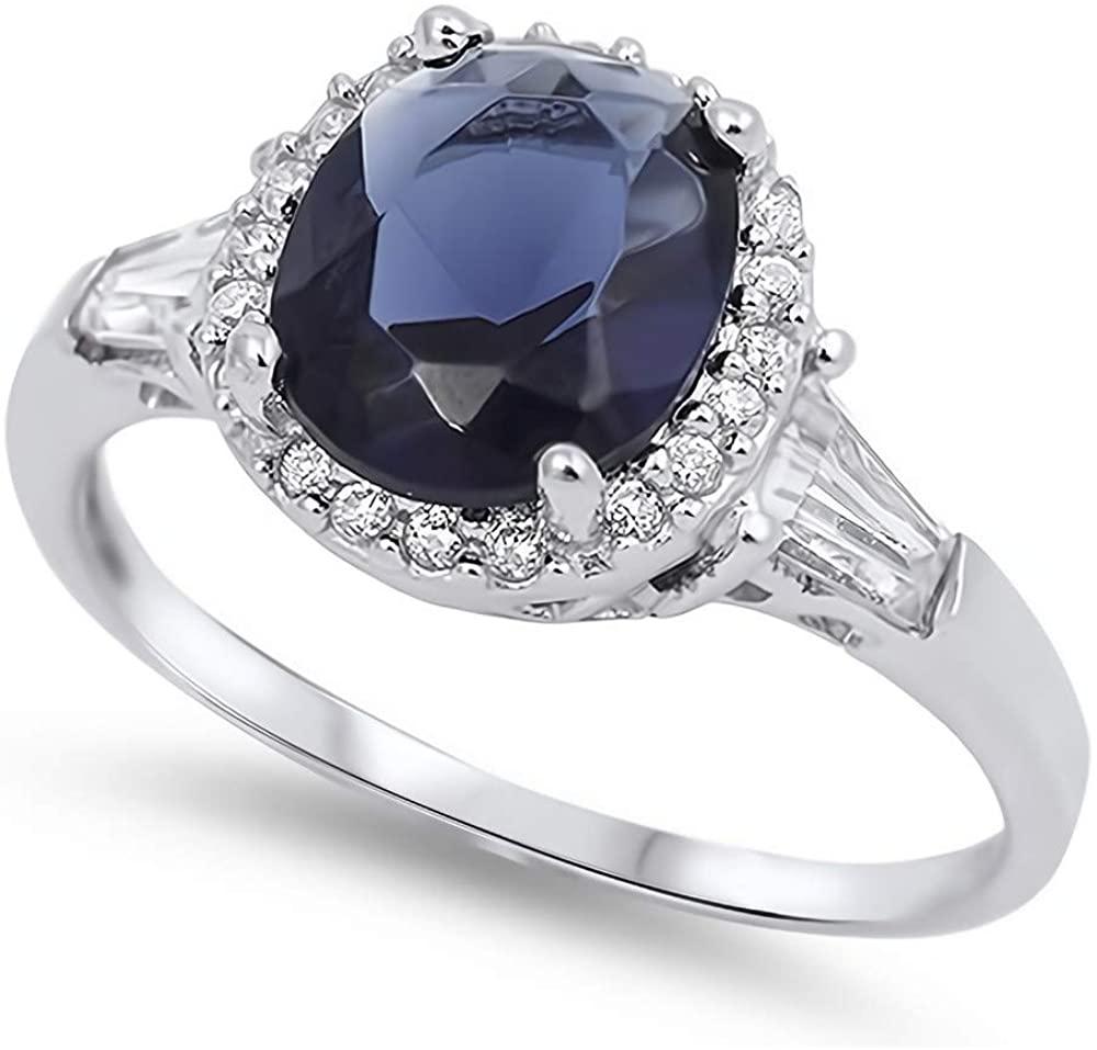 Glitzs Jewels 925 Sterling Silver CZ Ring (Royal Blue) | Cubic Zirconia Jewelry Gift