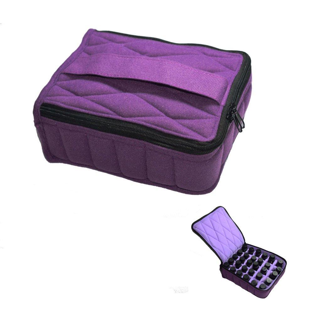 Soft 30 Bottles -Essential Oil Carrying Case Holds 30 Bottles 5ml/10ml/15ml for Travel,Home Stock (Deep Purple)