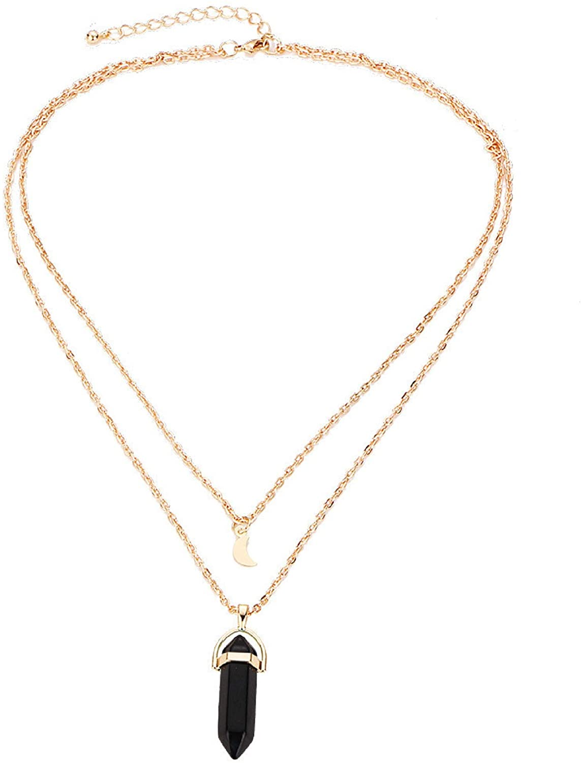 Hexagonal Chakra Crystal Bullet Shape Gemstone Layered Pendant Necklaces Pointed Quartz Stone Chain Chokers Necklaces