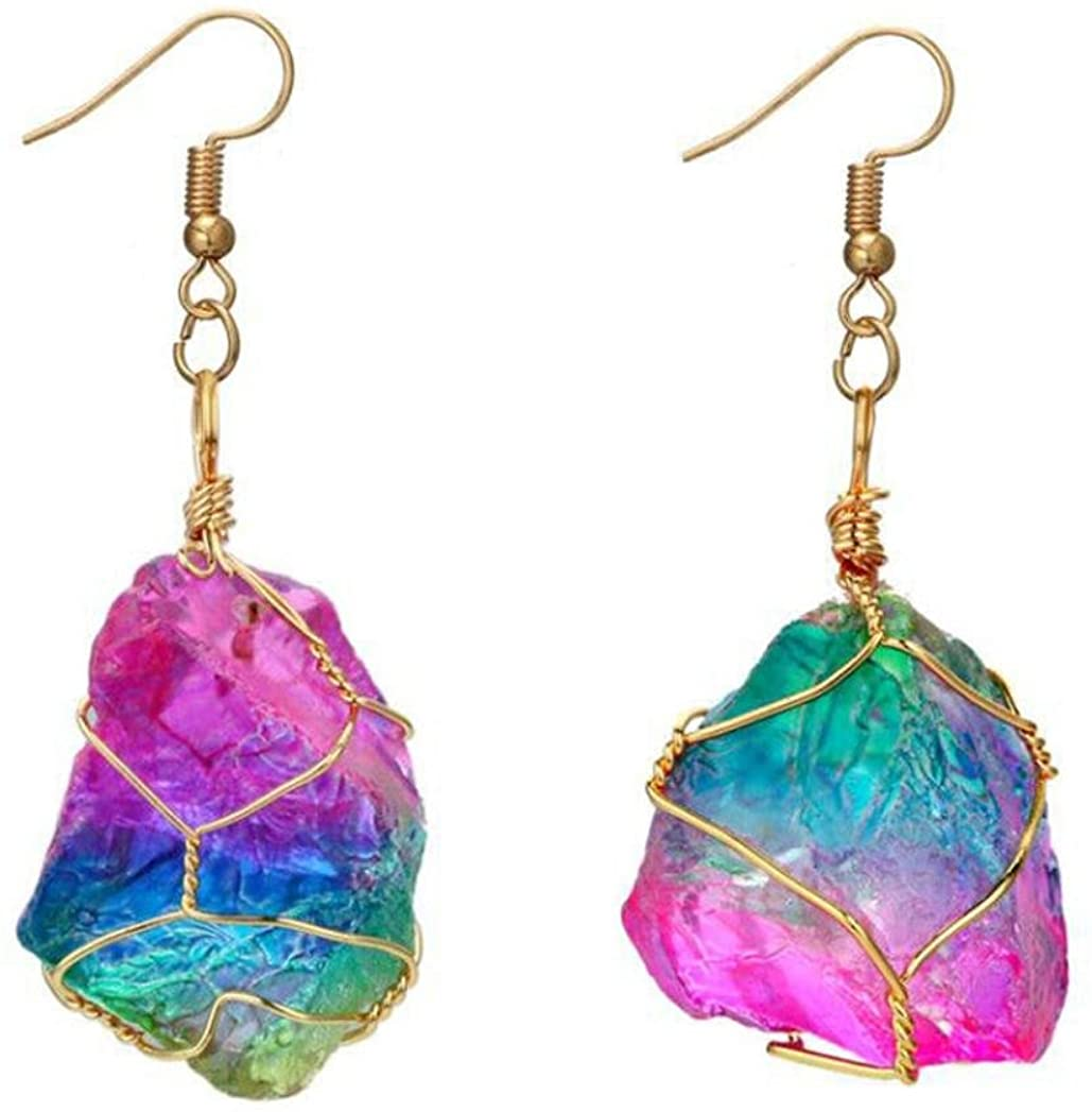 Womens Girls Rainbow Stone Natural Crystal Rock Earring Gold Plated Quartz Pendant Anniversary Engagement Party Wedding Gift Fashion Jewelry