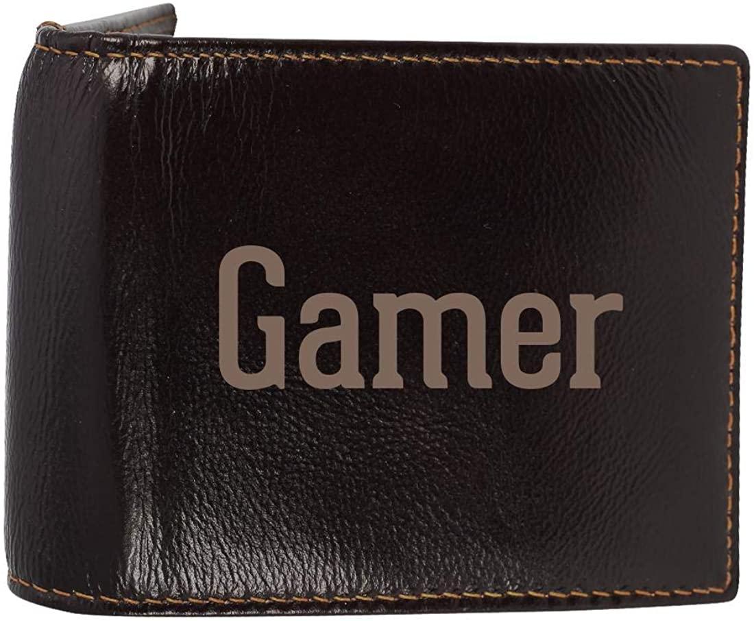 Gamer - Genuine Engraved Soft Cowhide Bifold Leather Wallet