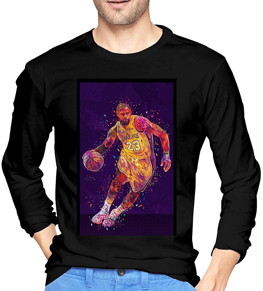 King LAbron James Logo Lakers Men's Long-Sleeve T Shirt