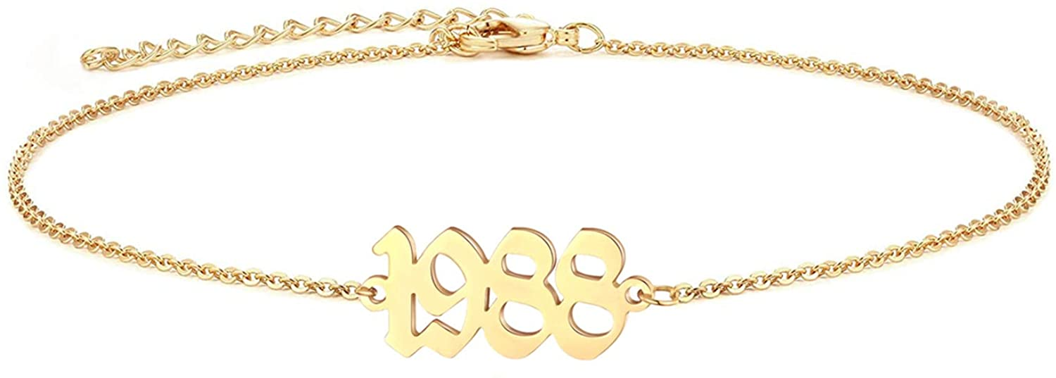 VLINRAS Birth Year Anklet - Gold & Silver Birth Date Ankle Bracelets for Women, Adjustable Dainty Beach Foot Jewelry Anniversary Birthday Gift