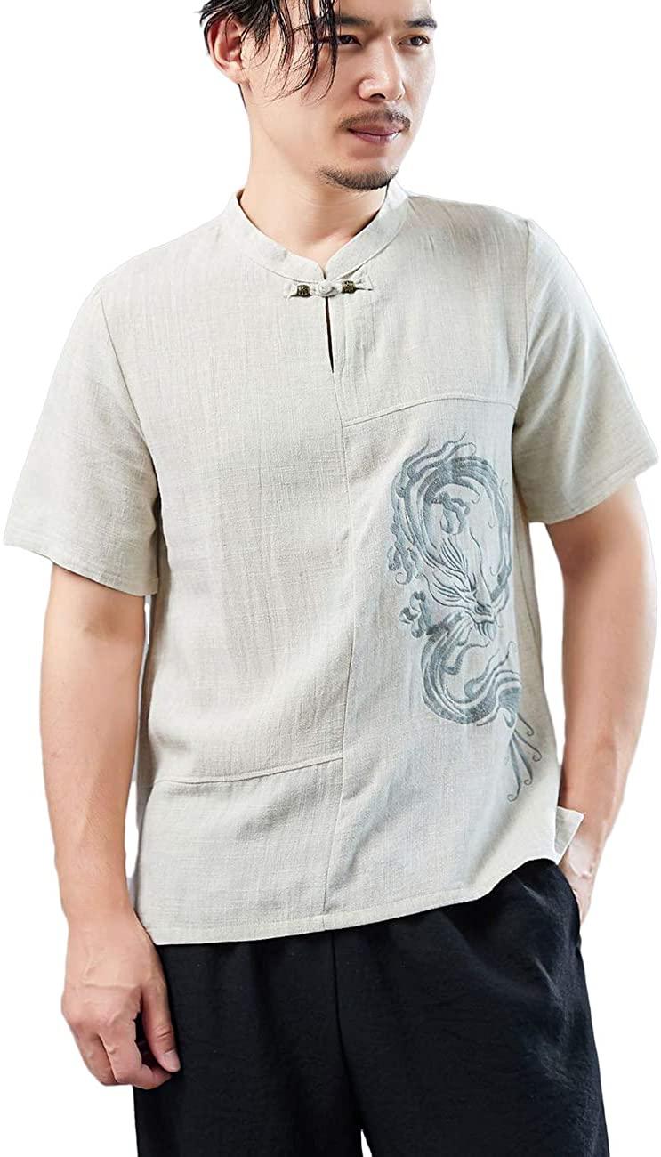 LZJN Men's Summer Retro Frog Button V-Neck Dragon Embroidery Cotton and Linen Slim Fit Henley Shirt Tops Short Sleeve