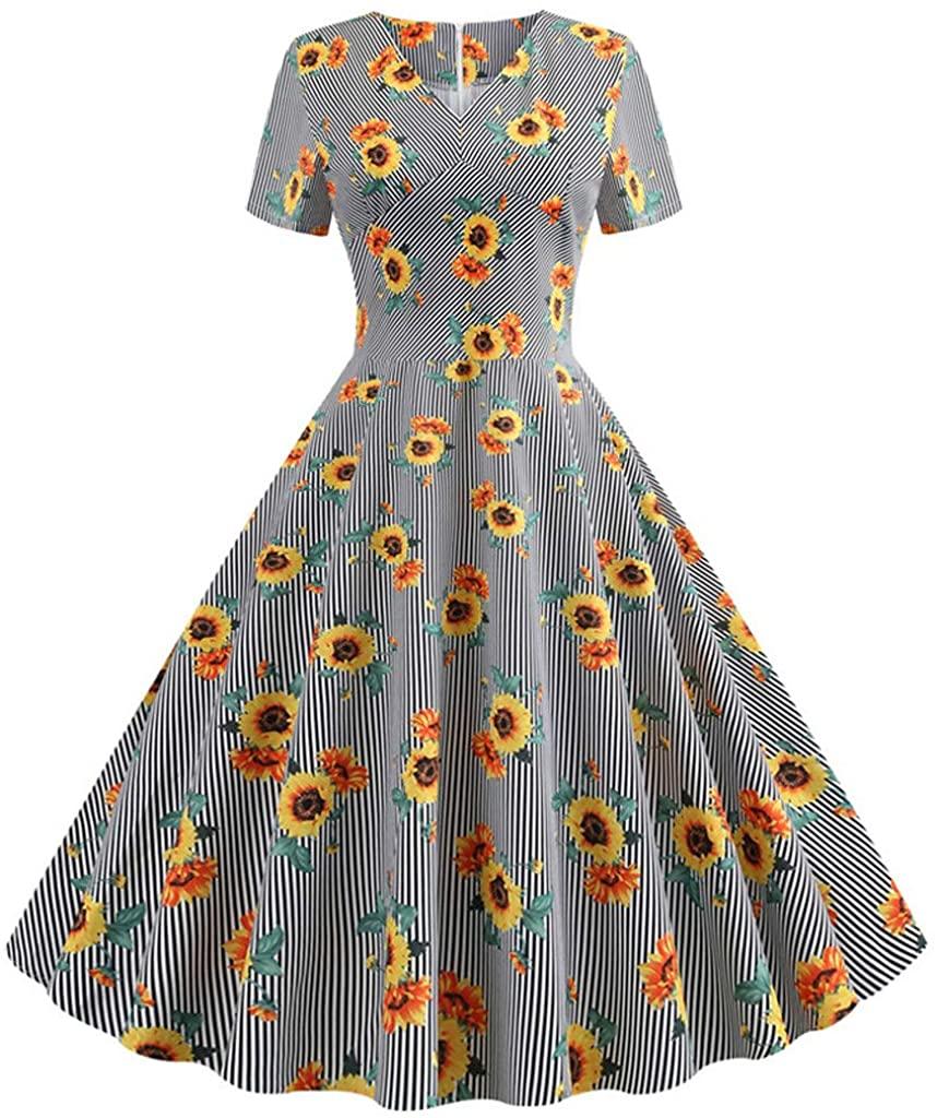 DICPOLIA Women's Vintage Plaid Sunflower Dress, Short Sleeve V Neck (S-2XL)