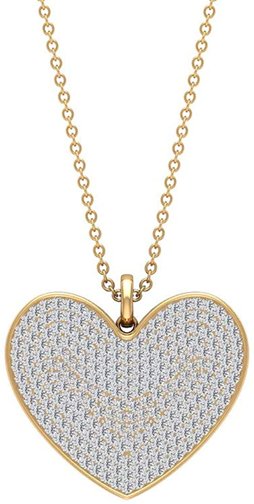 1.13 CT Round Brilliant Certified Moissanite Gemstone Heart Pendant, Unique White Stone Cluster Heart Shape Gold Pendant, Vintage Charm Chain Necklace