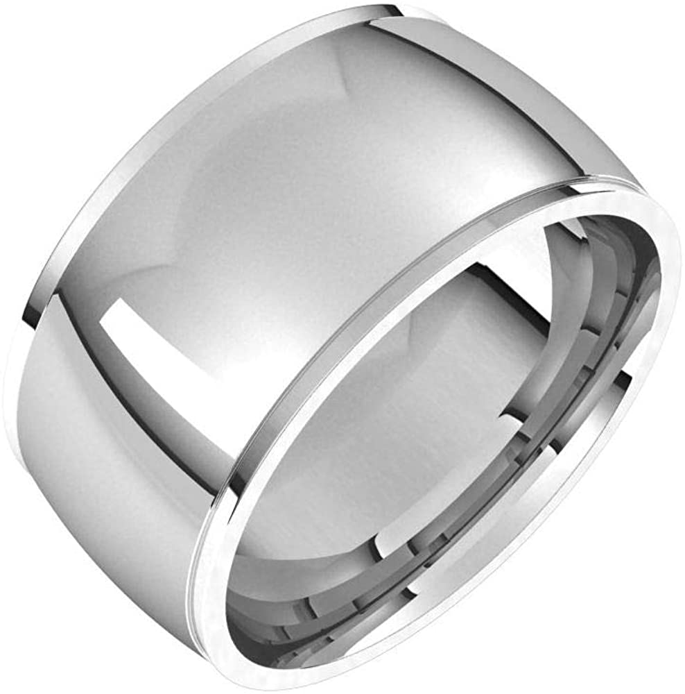 Tarnish Resistant Solid 925 Sterling Silver 10mm Comfort Fit Edge Wedding Band Size 7.5