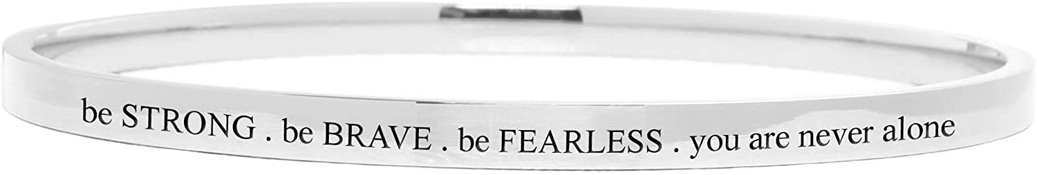 Pink Box 4Mm Round Bangle - Be Strong Be Brave - Silver -