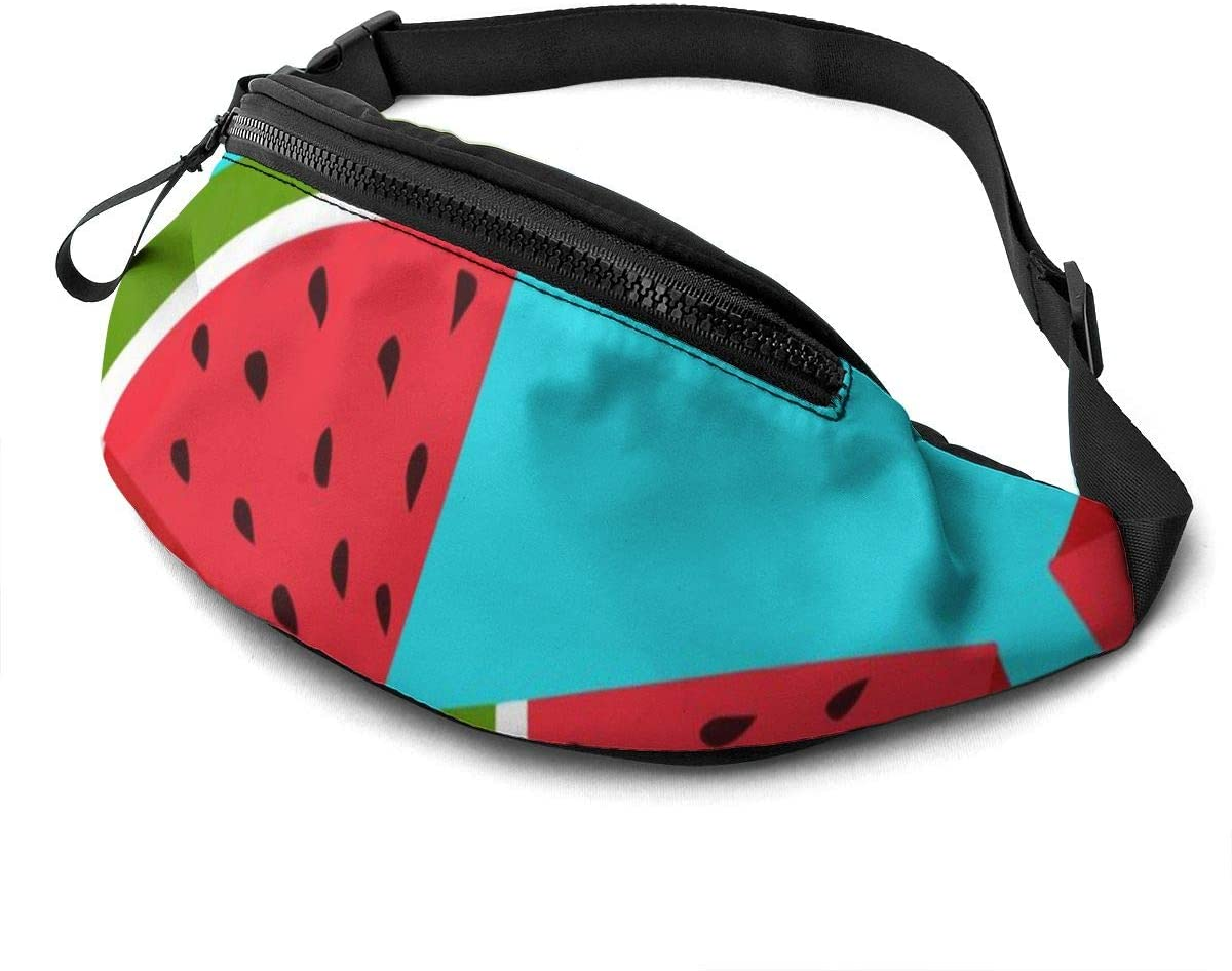 Fresh Watermelon Fanny Pack For Men Women Waist Pack Bag With Headphone Jack And Zipper Pockets Adjustable Straps