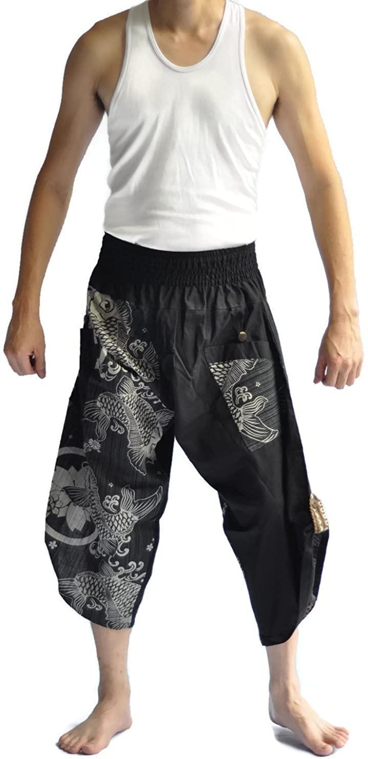 Siam Trendy Thai Pants One Size Black Thai Fishermanpants Fish Design