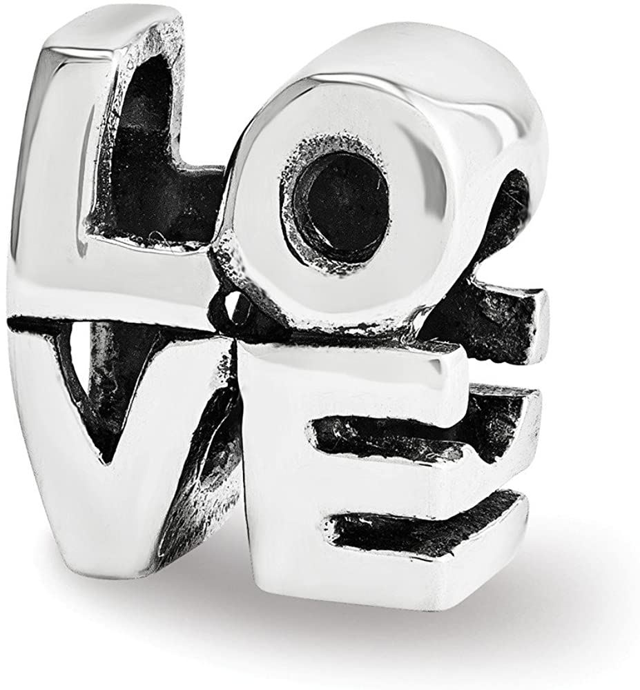 Bead Charm White Sterling Silver Themed 10 mm 9.09 Reflections Love