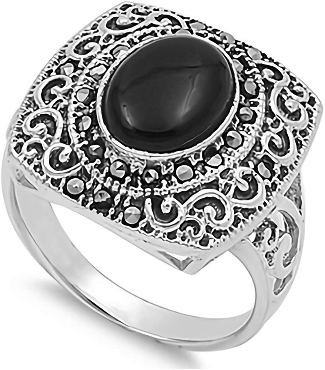 Glitzs Jewels 925 Sterling Silver Ring with Stone (Black) | Jewelry Gift