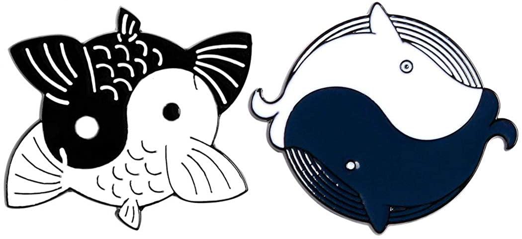 AnaPin Tai Chi Koi Carp Whale Yin Yang Fish Brooch Pin 2 Pcs Enamel Pins Lapel Badges