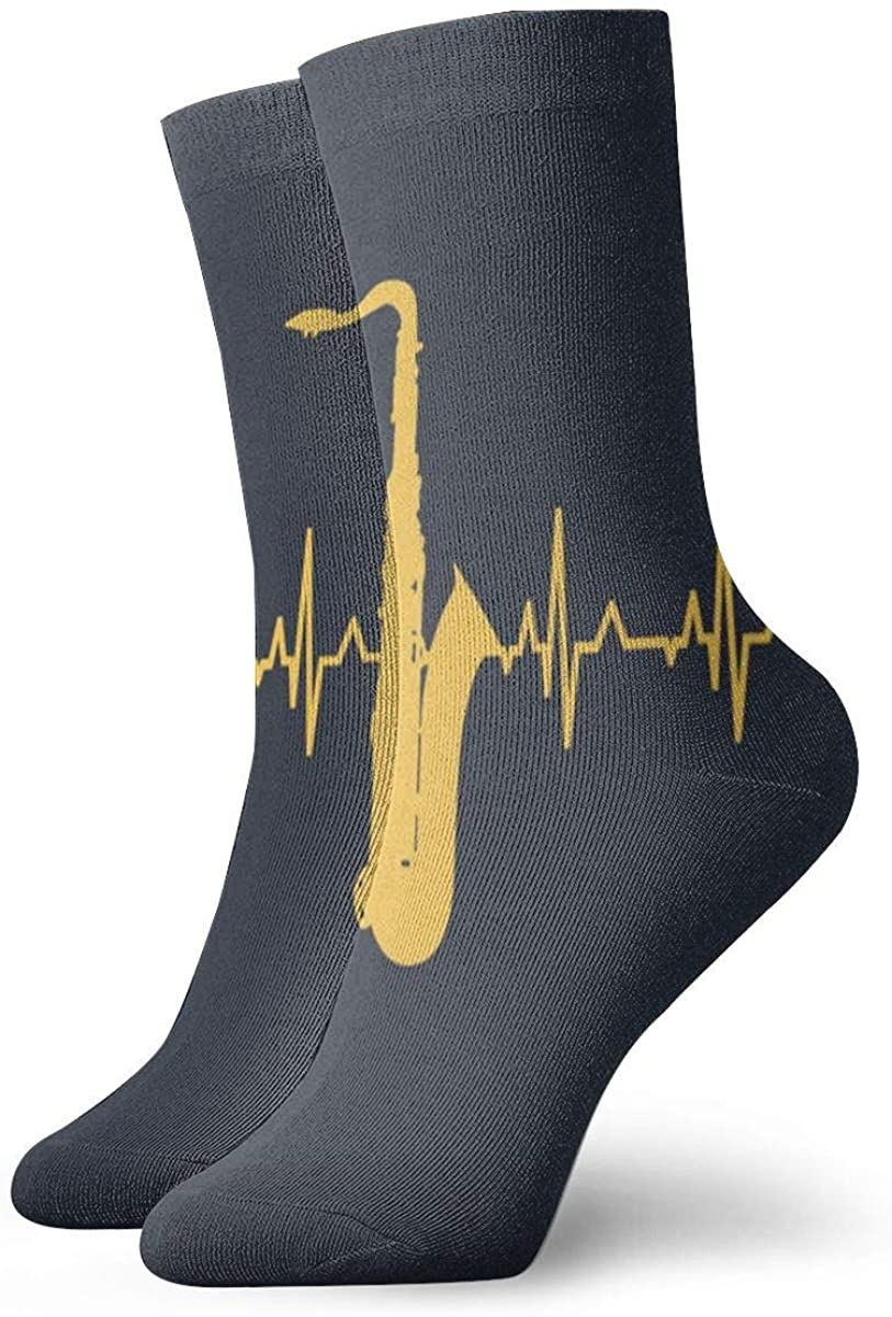 SHARP-Q Saxophone Heartbeat Unisex Comfortable Crew Socks Athletic Casual Sock Novelty Socks