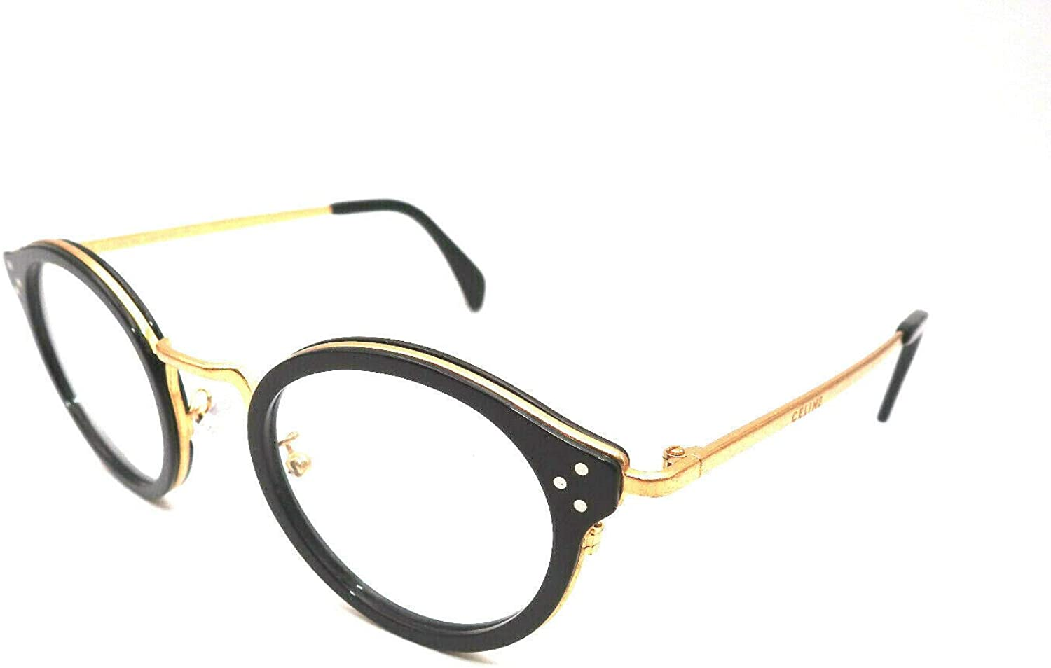 Celine CL50001U - 001 METAL Eyeglass Frame Distressed Gold/Black 46mm