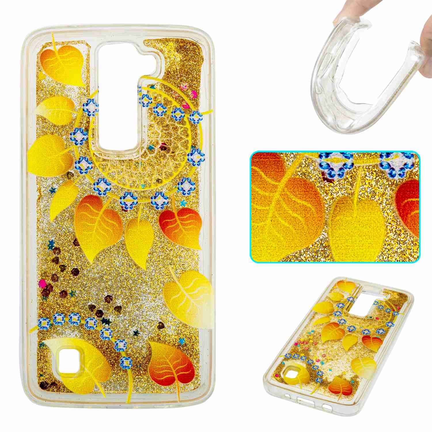 STENES LG K8 Case - 3D Creative Luxury Bling Glitter Sparkle Liquid Case Infused With Glitter and Stars Moving Quicksand Soft Case For LG Phoenix 2 /Escape 3 /LG K8 (2016) - Gold Flowers Leaf