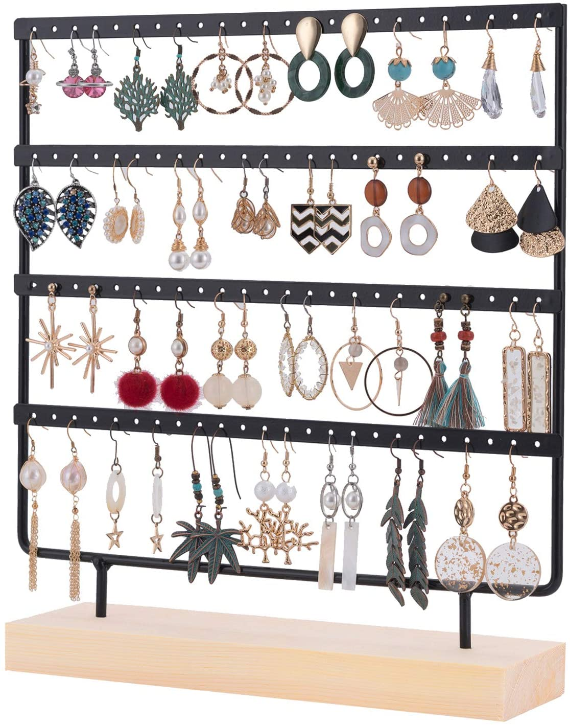 Earring Stand Holder 4 Tier Earring Display Stand Earring Tree Stand Rack Hanger Jewelry Display Stand Holder Organizer Tower with Tray/Dish for Earrings Studs 96 Holes