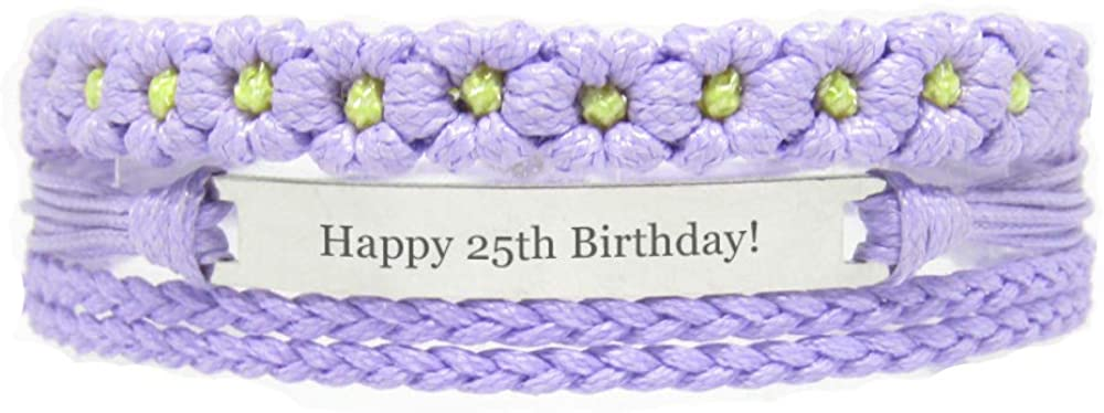 Miiras Birthday Engraved Handmade Bracelet - Happy 25th Birthday! - Purple FL - Gift for Women, Girls, Friends, Mothers, Daughters, Aunts who are Twenty-Five Years Old