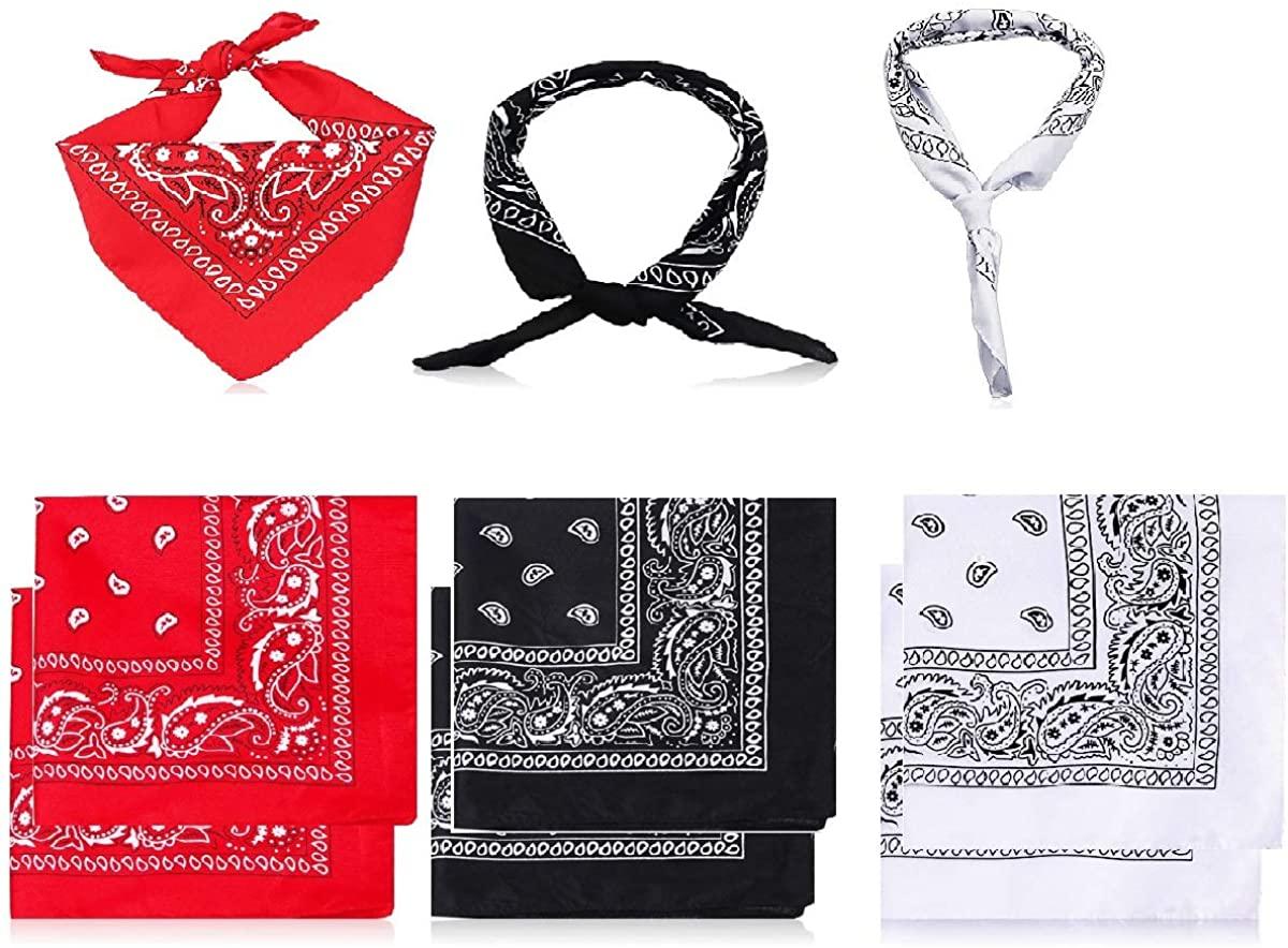 DOERDO 6 Pack Bandanas,Multi-Purpose Bandanas Headband for Men and Women,Wrap, Protective Coverage(White,Black,Red)