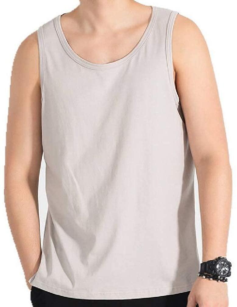 Loyomobak Men's Sleeveless Cotton Comfy Solid Color Crew Neck Vest Tank Top