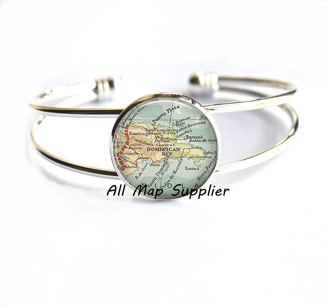 AllMapsupplier Charming Bracelet Dominican Republic map Bracelet, Dominican Republic Bracelet DR map Jewelry Brooch pin map Bracelets,A0098