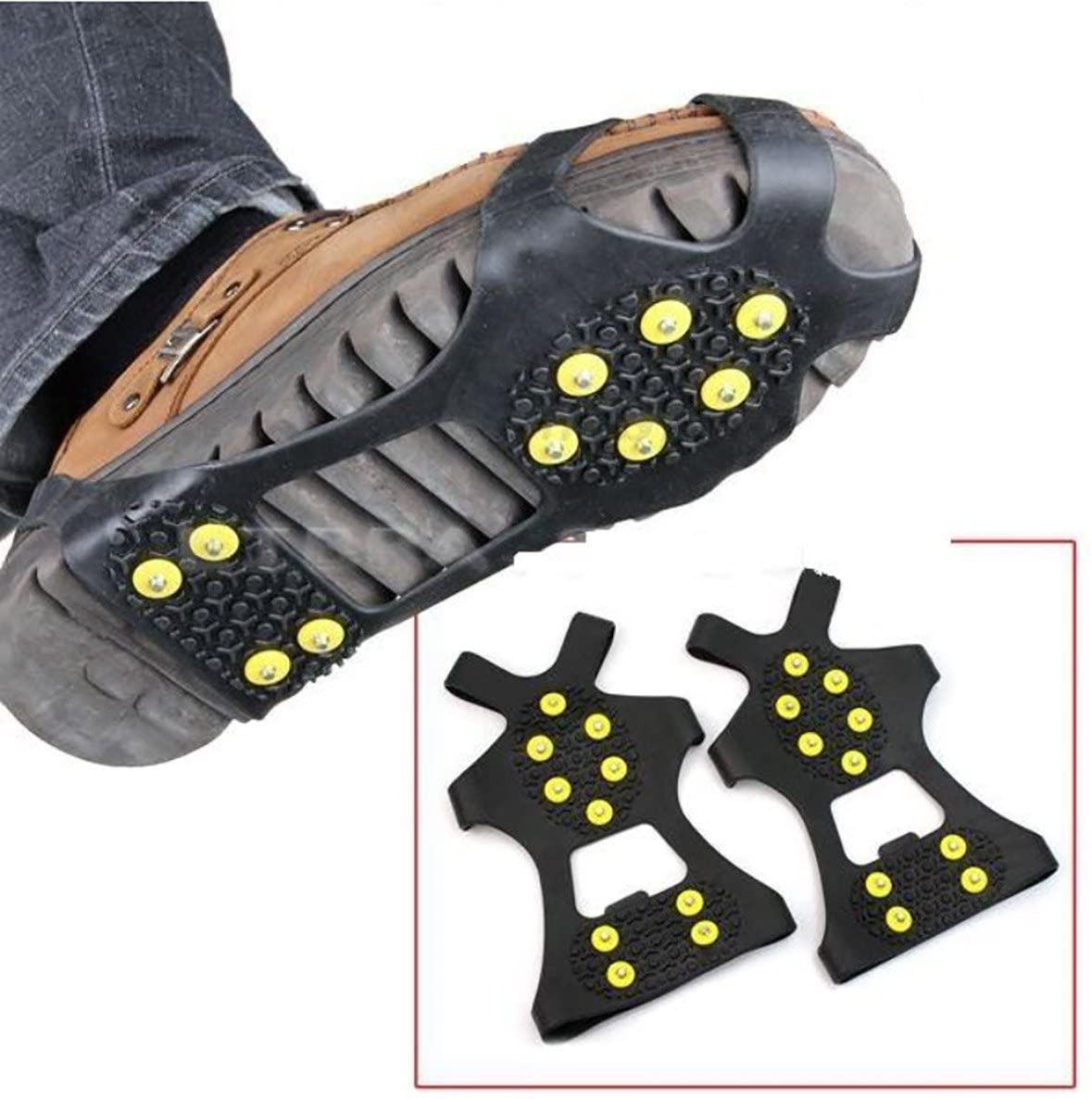 2Pcs Non-slip shoe cover Ice Snow Grips Over Shoe Boot Traction Cleat Rubber Spikes Anti Slip Mountaineering Non-slip Shoe Cover 10-Stud Slip-on Stretch Footwear (Medium (Shoes Size:W 7-10/M 5-8))