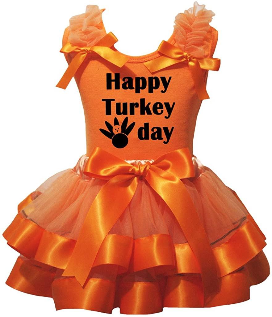 Petitebella Happy Turkey Day Orange Shirt Orange Petal Skirt Outfit Nb-8y