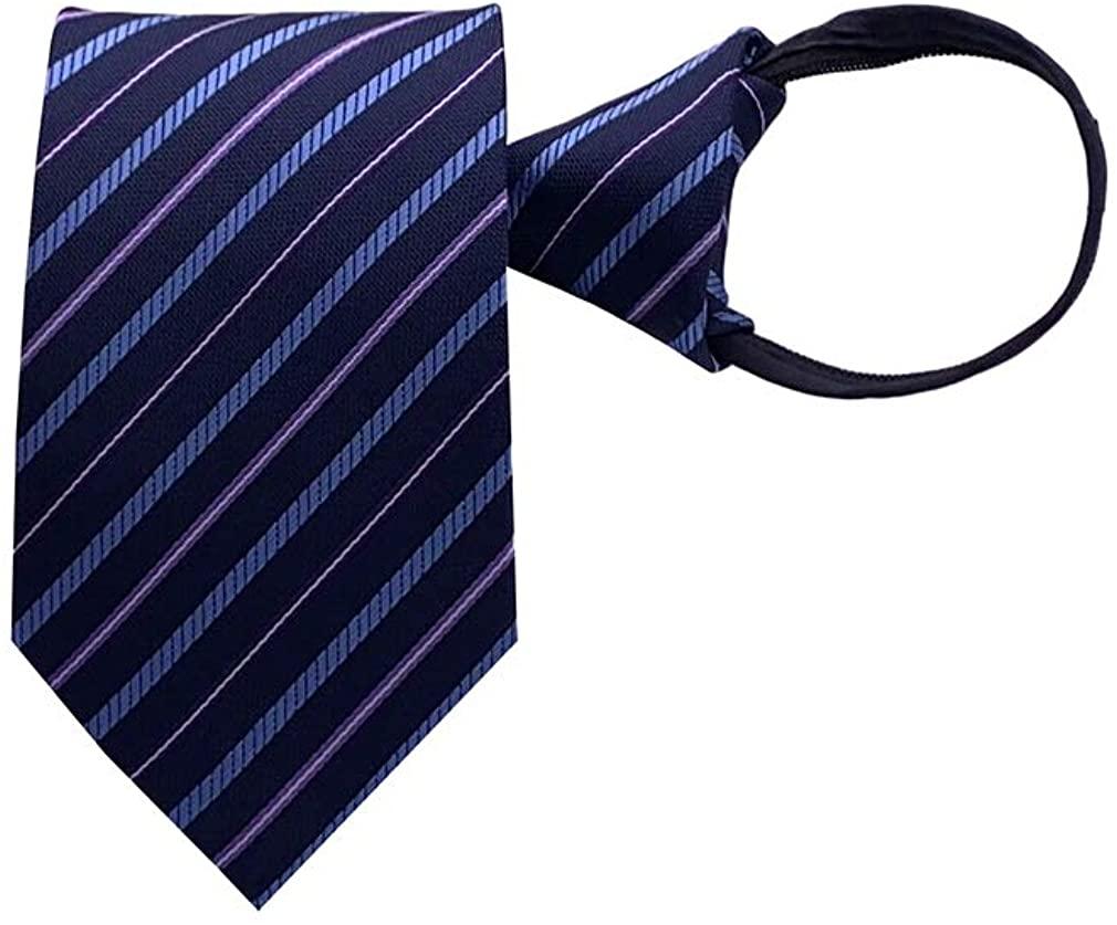 BESMODZ Men's Classic Zipper Ties Pre-tied Striped Silk Formal Business Neckties