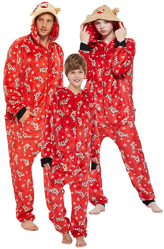 Family Matching Onesie Pajamas Christmas One Piece Fleece PJS Jumpsuit Kids and Adults Hoodie Zipper Sleepwear