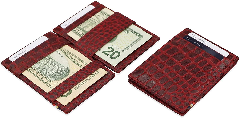 Garzini Thin Minimalist Genuine Leather Magic Wallet RFID Blocking with ID Window for Men