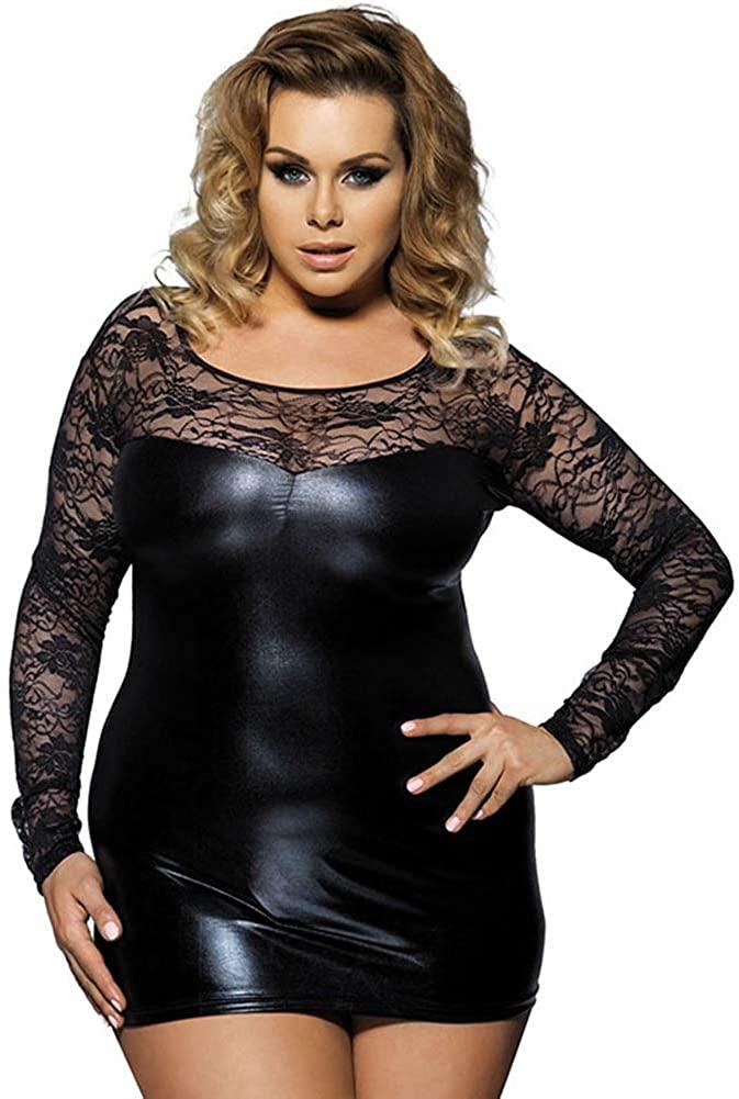 Plus Women Sexy Lingerie Lace Underwear Mesh Short Nightdress Female Bodysuit Black