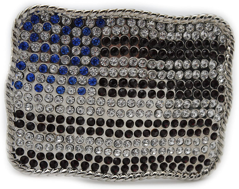 TFJ Men Women Buckle Silver Metal USA American Flag Red Blue Rhinestone