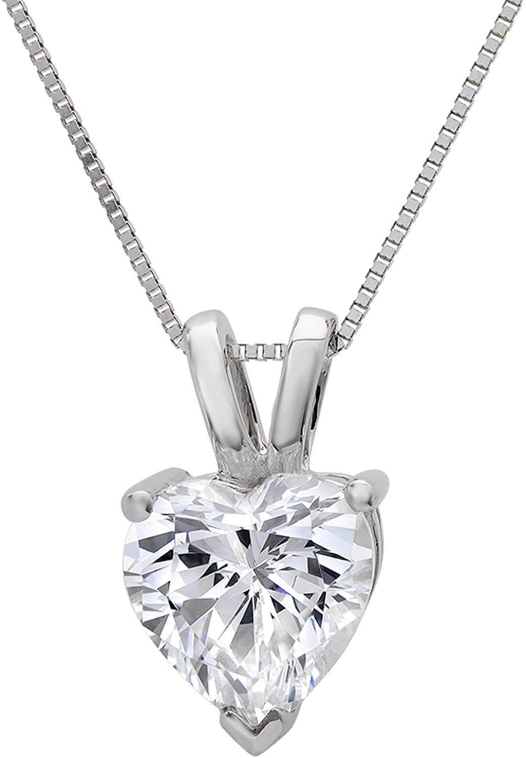 Clara Pucci 0.50 CT Heart Cut Simulated Diamond CZ Real Solid 14K White Gold Solitaire Pendant Box Necklace 16