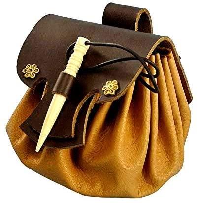 Mythrojan Medieval Small Leather Belt Pouch LARP Renaissance Waist Bag