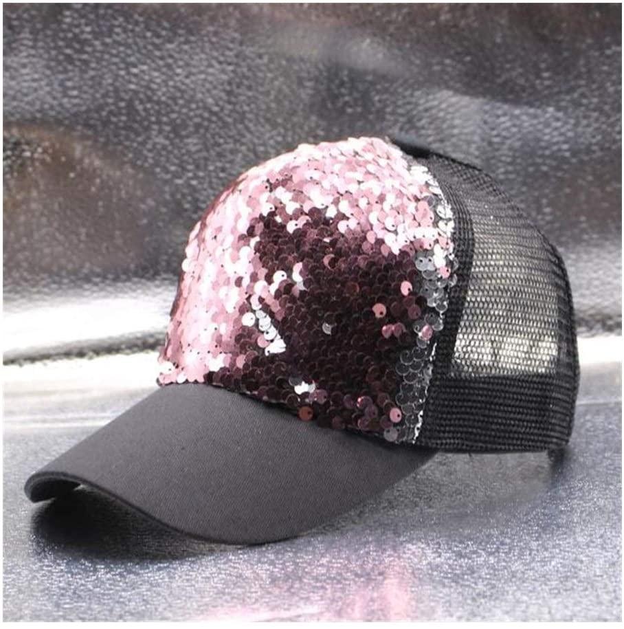 Casual Parent-Child Baseball Cap Sequins Shiny Hip-Hop Hat Girls Mesh Cap Breathable Ladies Hat Bones Sun Hats Snapback (Color : Purple Pink, Size : MAdult Size 56 59cm)