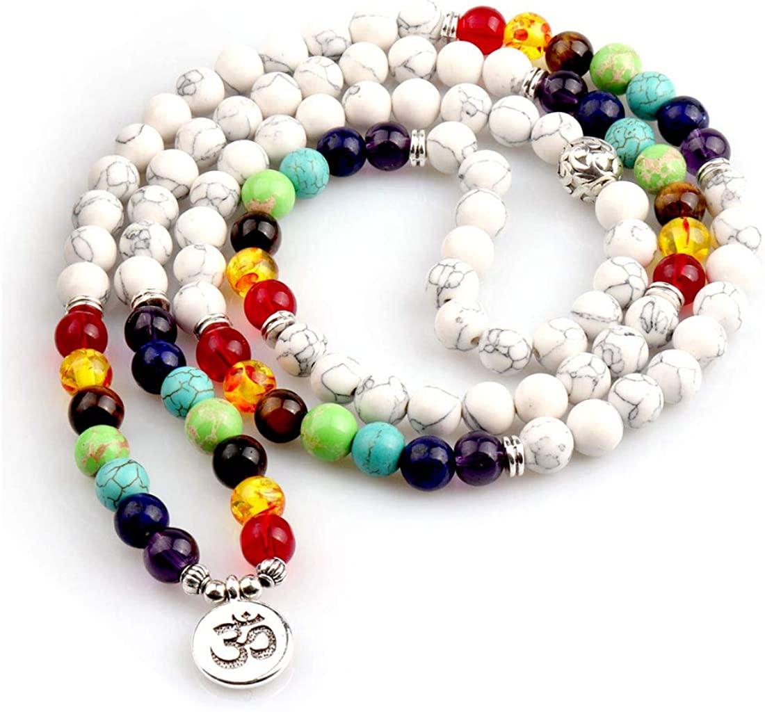 GVUSMIL 7 Chakra 108 Mala Beads Wrap Bracelets for Yoga Charm Natural Gemstone 8mm Turquoise