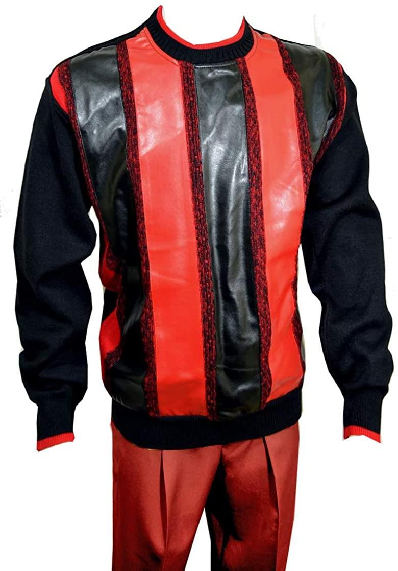 Bagazio Black Red PU Leather Pull-Over Sweater BM1954
