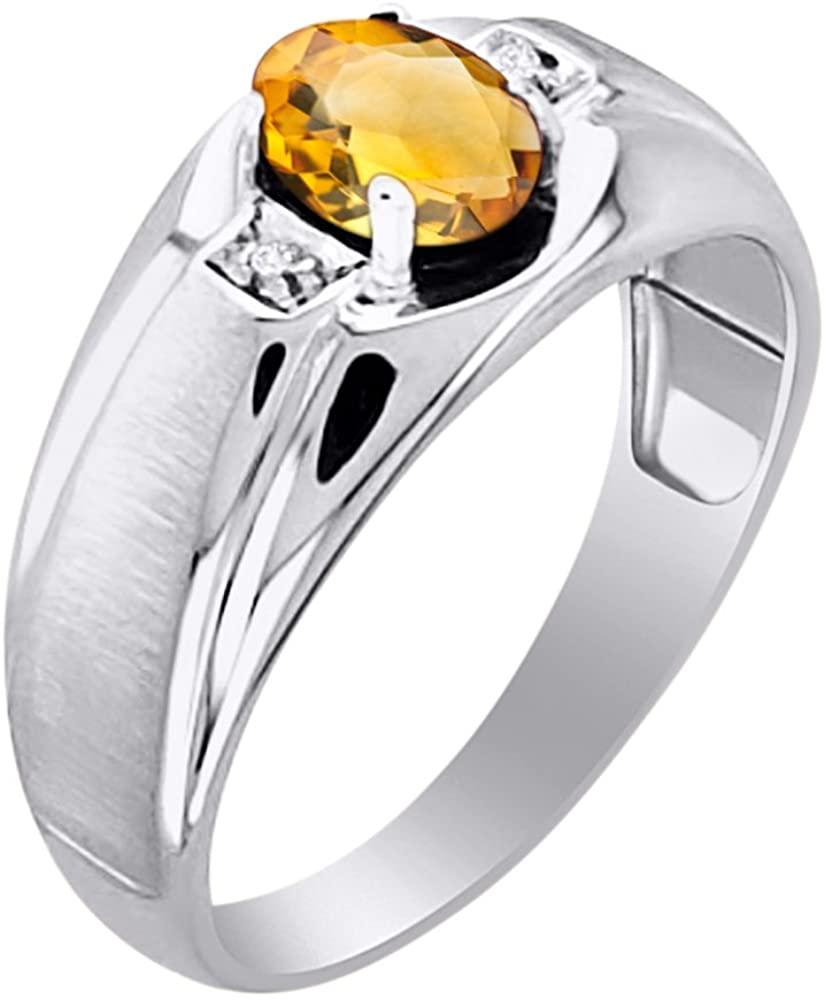 Diamond & Citrine Ring 14K Yellow or 14K White Gold