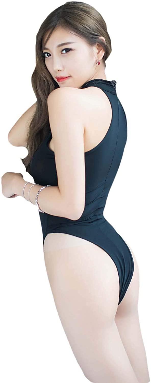 Tomtop201309 Women Sexy Lingerie High Cut Leotard Bodysuit Jumpsuit Swimwear and See-Through Split Back Bodycon Mini Skirt