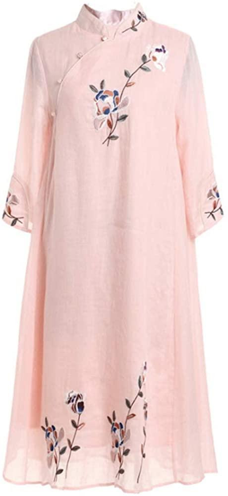 HangErFeng Dress Cotton Linen Blend Embroidered Oblique Placket Cheongsam Chinese Element A-Shaped Skirt (Pink)