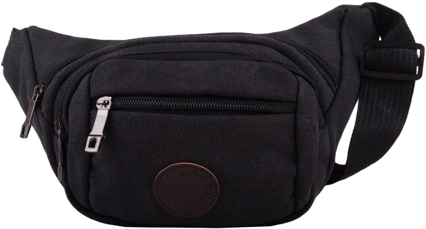 Womens/Mens Canvas Travel/Holiday Waist Pack/Bum Bag/Money Holder - Black