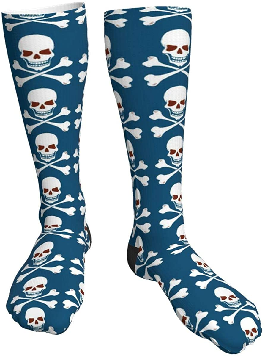Unisex Casual Socks, Cartoon Skulls Athletic Socks Compression Crew Socks 50cm Long Socks