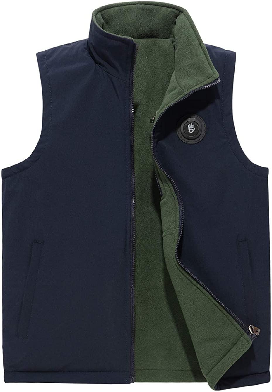 Men's Reversible Vest Windproof Full Zip Stand Collar Fleece Sleeveless Jacket