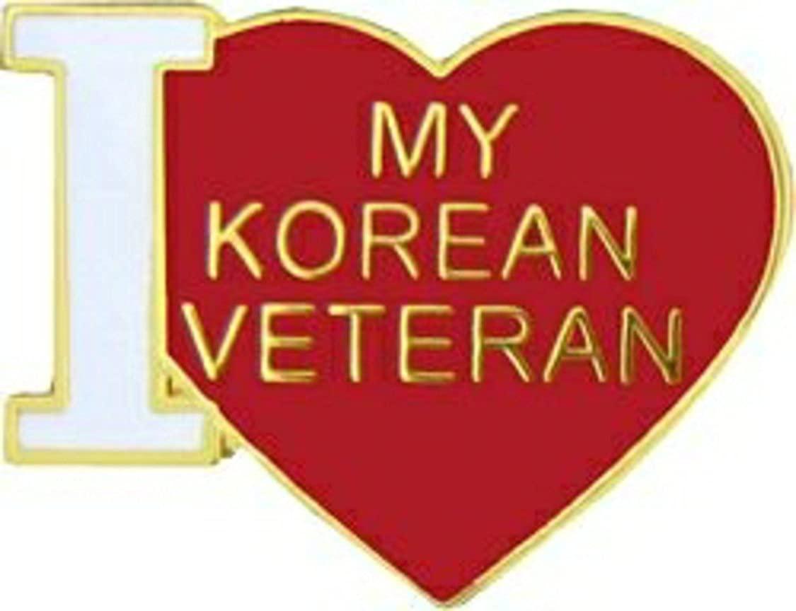 I Love My Korean Vet Lapel Pin or Hat Pin (metal, 3/4