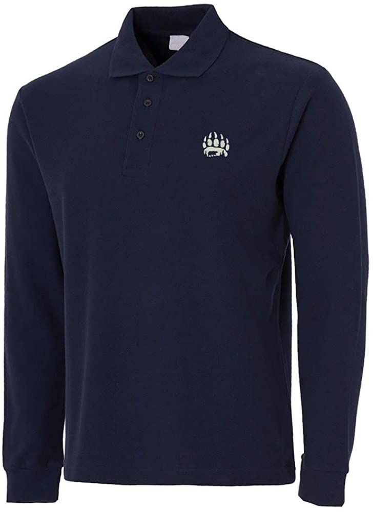 Mens Bear Paw Embroidery Embroidered Long Sleeve Polo Shirts Men Shirts