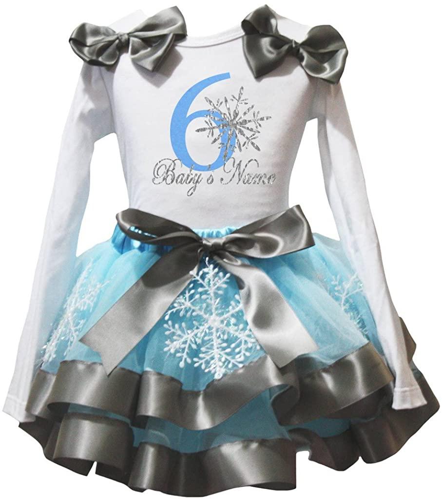 Petitebella Snowflake Named 1 to 6 White L/s Shirt Blue Petal Skirt Nb-8y