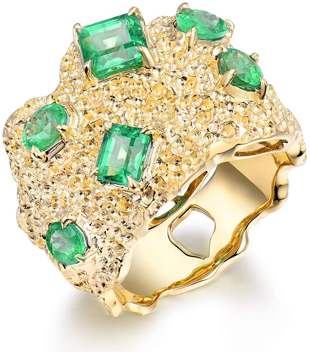 14K Yellow Gold Natural Men's Emerald Ring
