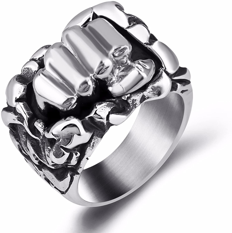 Elfasio Mens Boys Design Sense Fist Silver Hip hop Stainless Steel Ring Jewelry Size 8-13