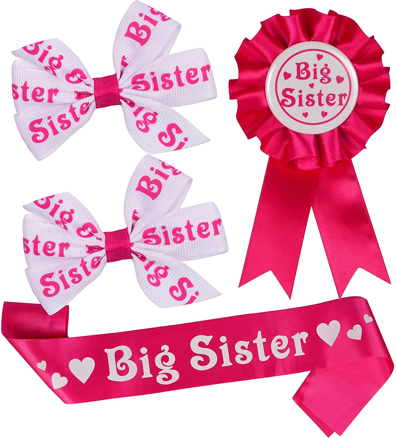 Big Sister for Baby Shower Sash, Big Sister Hair Clips, Big Sister Pin, Daughter Get Promoted To Big Sisters Idea Gift Set, I am going to be Big Sister, Big Sister to be for Baby Shower Sash, Big Sist